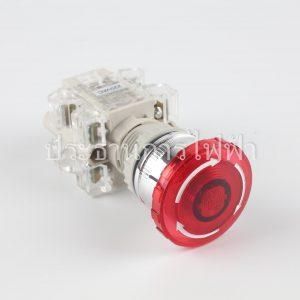 T2IKR2R1C สวิตช์กดล็อกหัวเห็ดมีไฟต่อตรง 22มม 220V 1a1b สีแดง tend