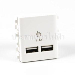 3032USB-WE เต้ารับคู่ USB 2.1A ขนาด 2ช่อง สีขาว schneider