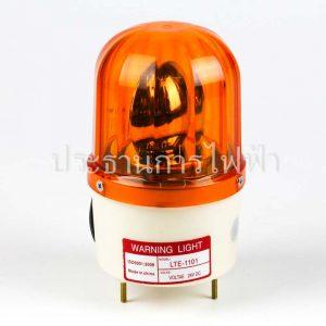 "LTE-1101 ไฟหมุน 4"" หัวนูน12เหลี่ยมใส 24V สีเหลือง PNC"
